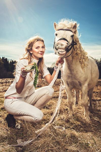 Beautiful woman and a shetland pony Beautiful woman and a shetland pony