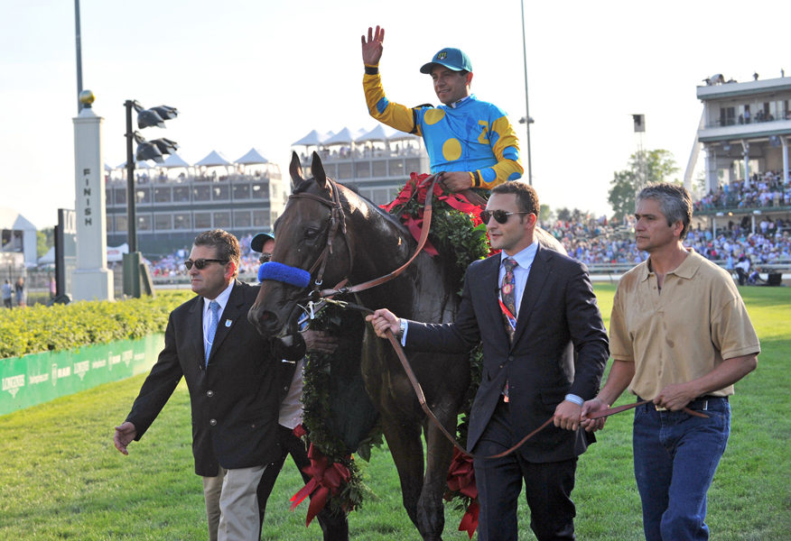 Kentucky Derby winner American Pharoah LOUISVILLE, KY - MAY 2 : Justin Zayat leads American Pharoah with Victor Espinoza up to winners circle after winning the Kentucky Derby at Churchill Downs Race Track on May 2, 2015 (Photo by Horsephotos/Getty Images)
