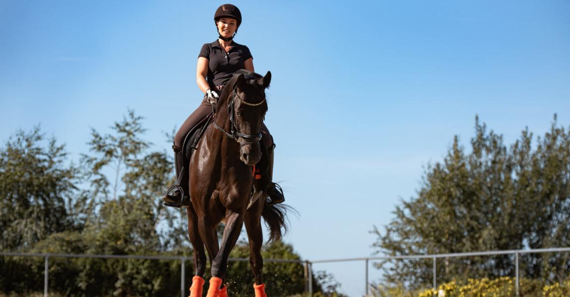 Reiterin reitet Seitengänge mit ihrem Pferd im Sommer auf einem Reitplatz
