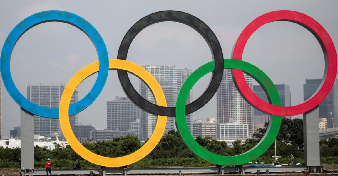 OLY-2020-2021-TOKYO A large size Olympic rings symbol is seen at