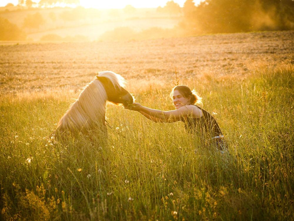 Annika Schrage und ihr Shetty Blizzard im Sonnenuntergang